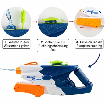 infinitoo Wasserpistole Spritzpistolen 1L, Water Gun Spielzeug für Kinder Water Blaster Badespielzeug Strandspielzeug Erwachsener(Wasser oder Eiswürfel hinzufügen) - 3