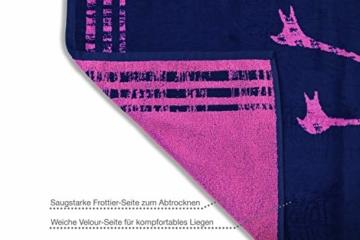 jilda-tex Strandtuch 90x180 cm Badetuch Strandlaken Handtuch 100% Baumwolle Velours Frottier Pflegeleicht (Flamingos) - 5