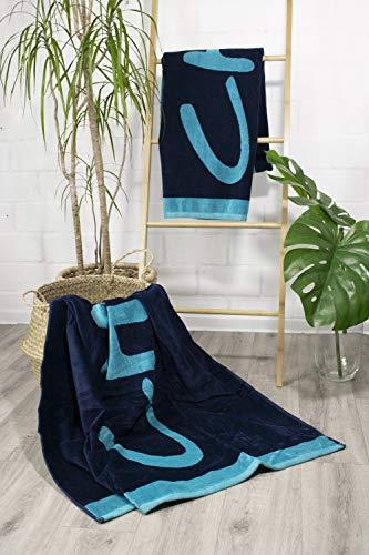 jilda-tex Strandtuch 90x180 cm Badetuch Strandlaken Handtuch 100% Baumwolle Velours Frottier Pflegeleicht (Chill Blue) - 3
