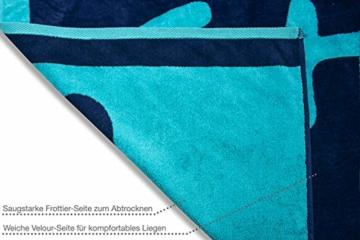 jilda-tex Strandtuch 90x180 cm Badetuch Strandlaken Handtuch 100% Baumwolle Velours Frottier Pflegeleicht (Chill Blue) - 4