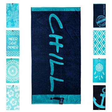 jilda-tex Strandtuch 90x180 cm Badetuch Strandlaken Handtuch 100% Baumwolle Velours Frottier Pflegeleicht (Chill Blue) - 1