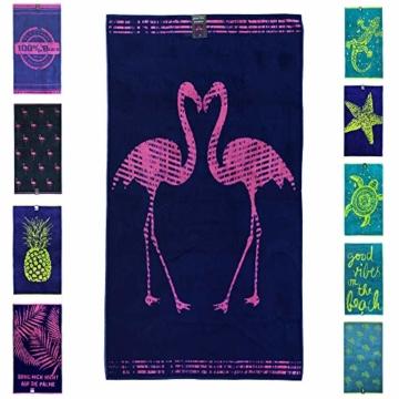 jilda-tex Strandtuch 90x180 cm Badetuch Strandlaken Handtuch 100% Baumwolle Velours Frottier Pflegeleicht (Flamingos) - 1