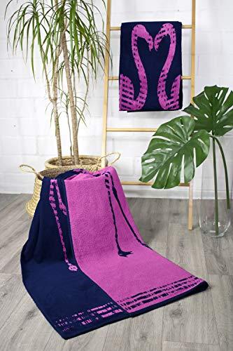 jilda-tex Strandtuch 90x180 cm Badetuch Strandlaken Handtuch 100% Baumwolle Velours Frottier Pflegeleicht (Flamingos) - 2