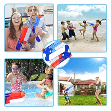 Joyjoz Wasserpistole Wasserspritzpistolen 2er Pack Wasser Blaster Water Gun Wasserpistole klein für Sommer Freibad Strand Wasserspaß für Kinder und Erwachsene (2 x 400 ml) - 3