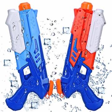 Joyjoz Wasserpistole Wasserspritzpistolen 2er Pack Wasser Blaster Water Gun Wasserpistole klein für Sommer Freibad Strand Wasserspaß für Kinder und Erwachsene (2 x 400 ml) - 1