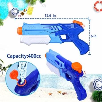Joyjoz Wasserpistole Wasserspritzpistolen 2er Pack Wasser Blaster Water Gun Wasserpistole klein für Sommer Freibad Strand Wasserspaß für Kinder und Erwachsene (2 x 400 ml) - 7