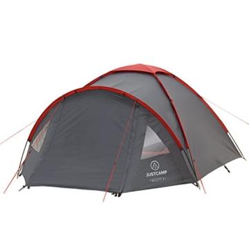 JUSTCAMP Kuppelzelt Scott 3, Campingzelt mit Vorraum, Iglu-Zelt für 3 Personen (doppelwandig) - grau - 3
