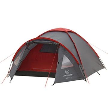 JUSTCAMP Kuppelzelt Scott 3, Campingzelt mit Vorraum, Iglu-Zelt für 3 Personen (doppelwandig) - grau - 4