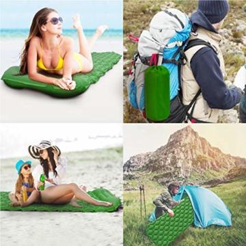 Karvipark Isomatte Selbstaufblasend mit Kopfkissen, Ultraleichte Luftmatratze Camping Leicht Kleines Packmaß, Schlafmatte Wasserdicht für Camping, Outdoor, Reise, Wandern, Strand (Gelb grün) - 4