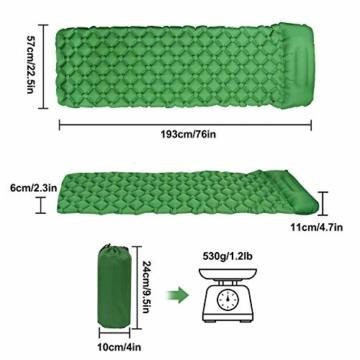 Karvipark Isomatte Selbstaufblasend mit Kopfkissen, Ultraleichte Luftmatratze Camping Leicht Kleines Packmaß, Schlafmatte Wasserdicht für Camping, Outdoor, Reise, Wandern, Strand (Gelb grün) - 5