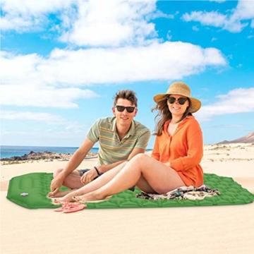 Karvipark Isomatte Selbstaufblasend mit Kopfkissen, Ultraleichte Luftmatratze Camping Leicht Kleines Packmaß, Schlafmatte Wasserdicht für Camping, Outdoor, Reise, Wandern, Strand (Gelb grün) - 8