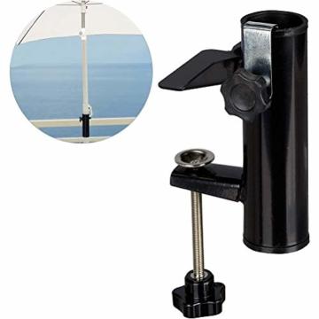 Leikance Sonnenschirmhalter Clip, Stahl, Balkonschirmständer Schirmhalter für quadratische Balkonstangen - 1