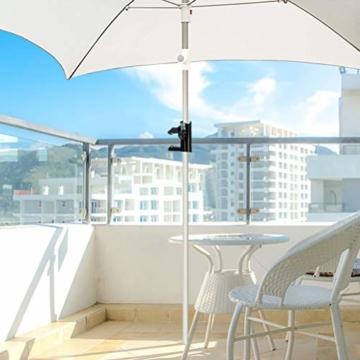 Leikance Sonnenschirmhalter Clip, Stahl, Balkonschirmständer Schirmhalter für quadratische Balkonstangen - 7