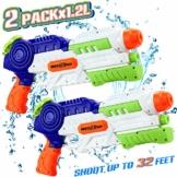 lenbest Wasserpistole, 2 Pack Wasser Blaster, 1.2L Großer Kapazität & 10 Meter Reichweite, Super Squirt Wasserpistolen - Sommer Partys, Pool, Garten Wasser Geschenk für Kinder Jungen Mädchen - 1