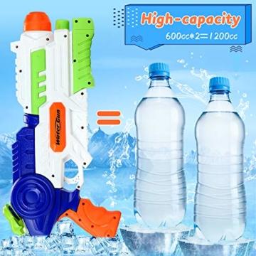 lenbest Wasserpistole, 2 Pack Wasser Blaster, 1.2L Großer Kapazität & 10 Meter Reichweite, Super Squirt Wasserpistolen - Sommer Partys, Pool, Garten Wasser Geschenk für Kinder Jungen Mädchen - 3