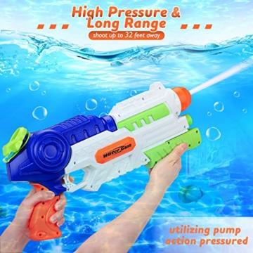 lenbest Wasserpistole, 2 Pack Wasser Blaster, 1.2L Großer Kapazität & 10 Meter Reichweite, Super Squirt Wasserpistolen - Sommer Partys, Pool, Garten Wasser Geschenk für Kinder Jungen Mädchen - 4
