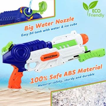 lenbest Wasserpistole, 2 Pack Wasser Blaster, 1.2L Großer Kapazität & 10 Meter Reichweite, Super Squirt Wasserpistolen - Sommer Partys, Pool, Garten Wasser Geschenk für Kinder Jungen Mädchen - 6