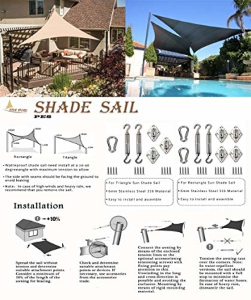 LOVE STORY Rechteck 3 x 4 m Anthrazit(PES) UV-Schutz Wasserdicht Sun Segel Sonnensegel Terrasse Garten Im Freien - 2