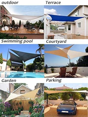 LOVE STORY Rechteck 3 x 4 m Anthrazit(PES) UV-Schutz Wasserdicht Sun Segel Sonnensegel Terrasse Garten Im Freien - 7