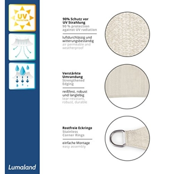 Lumaland Sonnensegel inkl. Befestigungsseile, 100% HDPE mit Stabilisator für UV Schutz, Rechteck 2 x 3 Meter Creme - 3