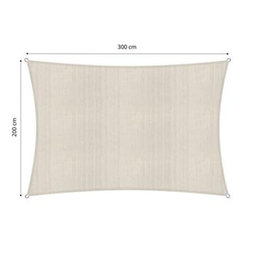 Lumaland Sonnensegel inkl. Befestigungsseile, 100% HDPE mit Stabilisator für UV Schutz, Rechteck 2 x 3 Meter Creme - 6