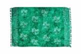 MANUMAR Damen Pareo blickdicht, Sarong Strandtuch in tosca-grün mit Palmen Motiv, XL Größe 175x115cm, Handtuch Sommer Kleid im Hippie Look, für Sauna Hamam Lunghi Bikini - 1