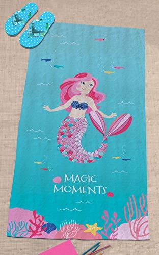 Mermaid MEERJUNGFRAU Mädchen Badetuch · Duschtuch · Strandtuch · Ocean Girl · türkis, rosa, pink · 75 x 150 cm - 100% Baumwolle - 2