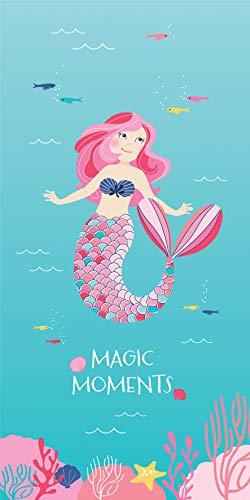 Mermaid MEERJUNGFRAU Mädchen Badetuch · Duschtuch · Strandtuch · Ocean Girl · türkis, rosa, pink · 75 x 150 cm - 100% Baumwolle - 1