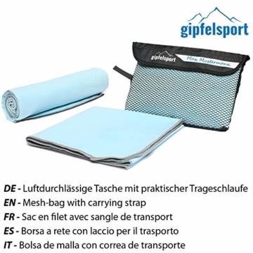 Mikrofaser Handtuch Set - Microfaser Handtücher für Sauna, Fitness, Sport I Strandtuch, Sporthandtuch I 1x XXL(200x90cm) I Hellblau - 2