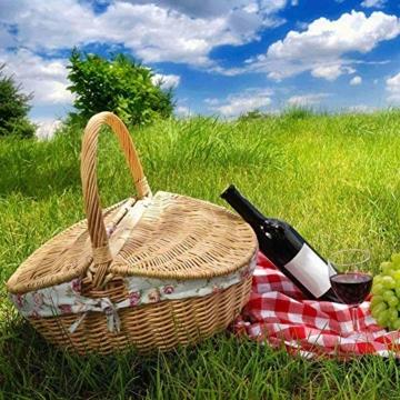 Natur Weidenkorb Runden mit Henkel und Deckel Kaminholzkorb Weide Einkaufskorb Picknickkorb Camping Handgemachte - 5