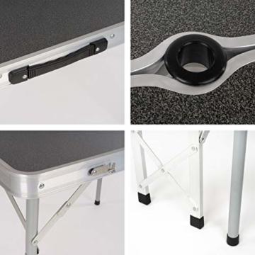 Nexos Picknickset Sitzgruppe Campingtisch mit Schirmloch 2 Bänke klappbar Aluminium Silber 90 cm - 2