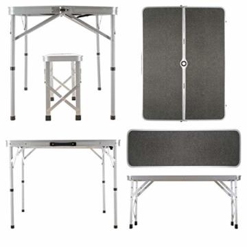 Nexos Picknickset Sitzgruppe Campingtisch mit Schirmloch 2 Bänke klappbar Aluminium Silber 90 cm - 4