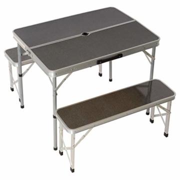 Nexos Picknickset Sitzgruppe Campingtisch mit Schirmloch 2 Bänke klappbar Aluminium Silber 90 cm - 1