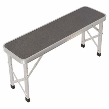 Nexos Picknickset Sitzgruppe Campingtisch mit Schirmloch 2 Bänke klappbar Aluminium Silber 90 cm - 5