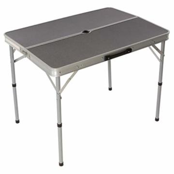 Nexos Picknickset Sitzgruppe Campingtisch mit Schirmloch 2 Bänke klappbar Aluminium Silber 90 cm - 6