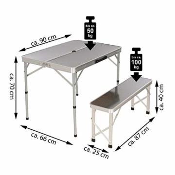 Nexos Picknickset Sitzgruppe Campingtisch mit Schirmloch 2 Bänke klappbar Aluminium Silber 90 cm - 7