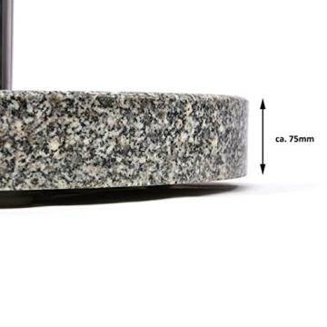 Nexos Schirmständer Sonnenschirmständer Granit poliert rund Ø 50cm Steindicke 7,5cm ca. 40kg Edelstahlrohr Griff Rollen grau - 2