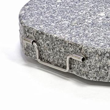 Nexos Schirmständer Sonnenschirmständer Granit poliert rund Ø 50cm Steindicke 7,5cm ca. 40kg Edelstahlrohr Griff Rollen grau - 4