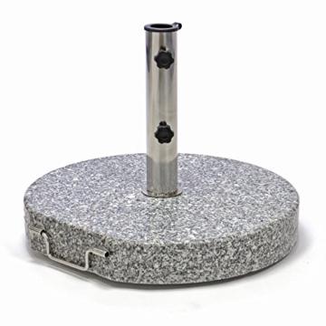 Nexos Schirmständer Sonnenschirmständer Granit poliert rund Ø 50cm Steindicke 7,5cm ca. 40kg Edelstahlrohr Griff Rollen grau - 1