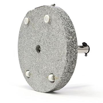 Nexos Schirmständer Sonnenschirmständer Granit poliert rund Ø 50cm Steindicke 7,5cm ca. 40kg Edelstahlrohr Griff Rollen grau - 7