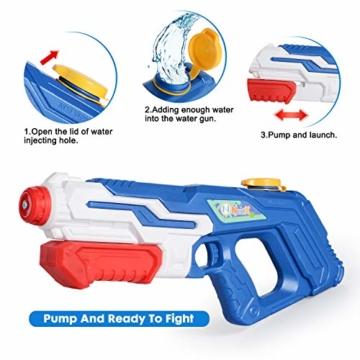 NextX Wasserpistole 2er Pack Reichweite 9 Meter Wassertank 1 Liter Sommer Strand Pool Spielzeug für Kinder Erwachsener - 4