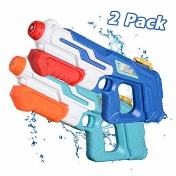 NextX Wasserpistole 2er Pack Reichweite 9 Meter Wassertank 1 Liter Sommer Strand Pool Spielzeug für Kinder Erwachsener - 1
