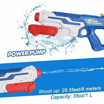 NextX Wasserpistole 2er Pack Reichweite 9 Meter Wassertank 1 Liter Sommer Strand Pool Spielzeug für Kinder Erwachsener - 5