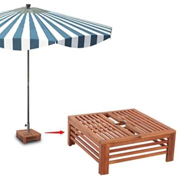 Nishore Abdeckung für Sonnenschirmständer Balkonschirmständer aus Holz 62 x 62 x 25 cm (L x B x H) - 5