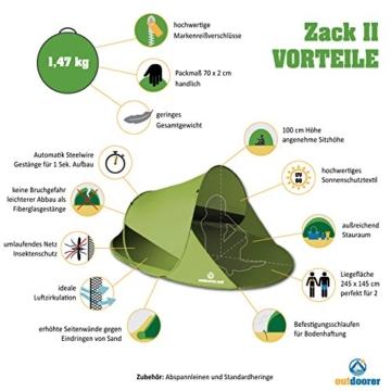 outdoorer Wurf-Strandmuschel Zack II grün - als Pop up Strandmuschel selbstaufbauend, UV 60 Sonnenschutz, Windschutz, großes Strandzelt - 2