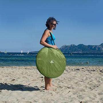 outdoorer Wurf-Strandmuschel Zack II grün - als Pop up Strandmuschel selbstaufbauend, UV 60 Sonnenschutz, Windschutz, großes Strandzelt - 4
