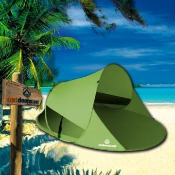 outdoorer Wurf-Strandmuschel Zack II grün - als Pop up Strandmuschel selbstaufbauend, UV 60 Sonnenschutz, Windschutz, großes Strandzelt - 6