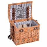 Outsunny Picknickkorb für 4 Personen Picknickkoffer Picknickset Weidenkorb mit Käsebrett Utensilien Glas - 1