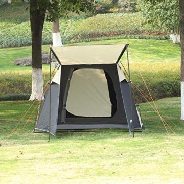 Outsunny Pop-Up Zelt für 3-4 Personen, Campingzelt mit Heringen, Kuppelzelt, Polyester, Dunkelgrau, 455 x 225 x 175 cm - 3