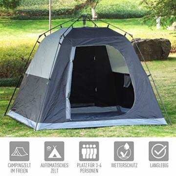 Outsunny Pop-Up Zelt für 3-4 Personen, Campingzelt mit Heringen, Kuppelzelt, Polyester, Dunkelgrau, 455 x 225 x 175 cm - 8